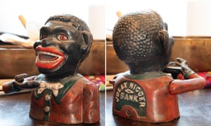 The front and back of a piggy bank from Oran Z's collection.