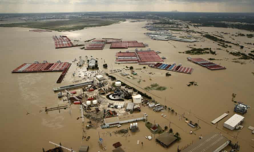 The flood-swollen Burnet Bay along the Houston Ship Channel in Houston.