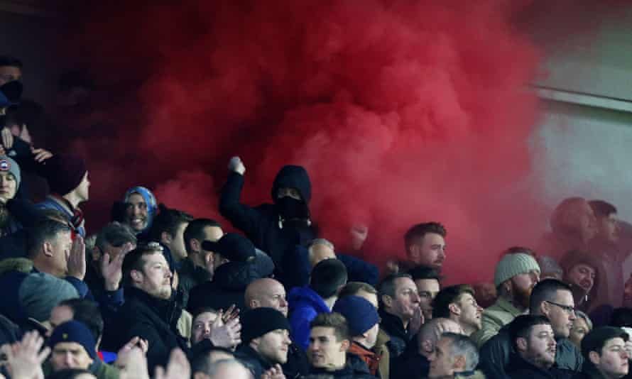 Palace fans set off a smoke bomb after kick-off and with the gates closed on bona-fide ticketholders for the M23 derby at Brighton.