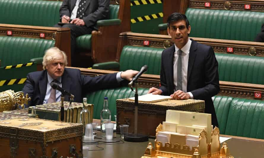 Boris Johnson and Rishi Sunak in the House of Commons.