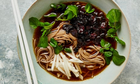 Meera Sodha's vegan recipe for soba noodle soup with caramelised cabbage and pickles