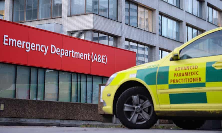 A&E entrance and a paramedic car