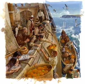 A painting depicting passengers and crew from Manila reaching for oranges and lemons, some antidotes to scurvy.