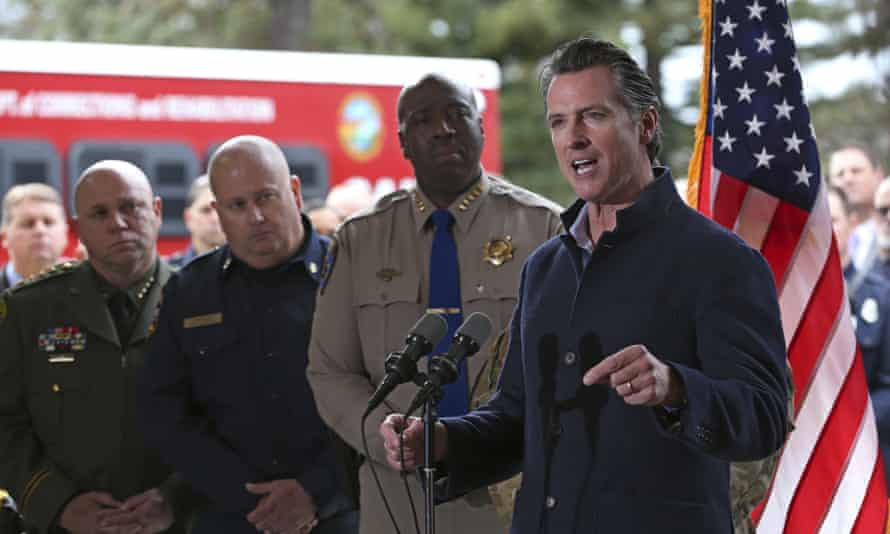 Gavin Newsom discusses emergency preparedness during a visit to the Cal Fire station in Colfax.