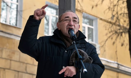 Arseny Roginsky, one of the founders of the prominent Russian human rights organisation Memorial, speaking in Moscow in 2016.