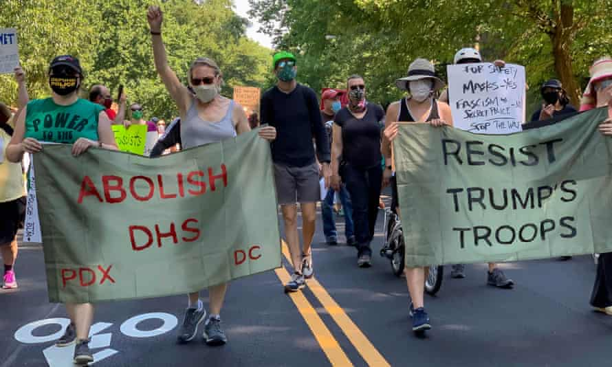 Crowds protest the Department of Homeland Security