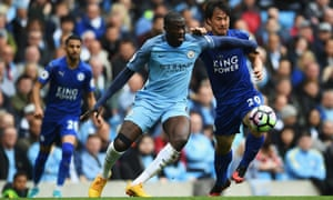 Yaya Touré puts in a typically combative shift for Manchester City in the 2-1 defeat of Leicester which briefly moved them third in the Premier League.