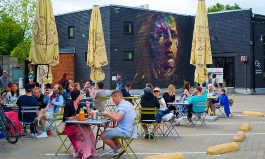 A terrace at one of Telliskivi's numerous cafes.