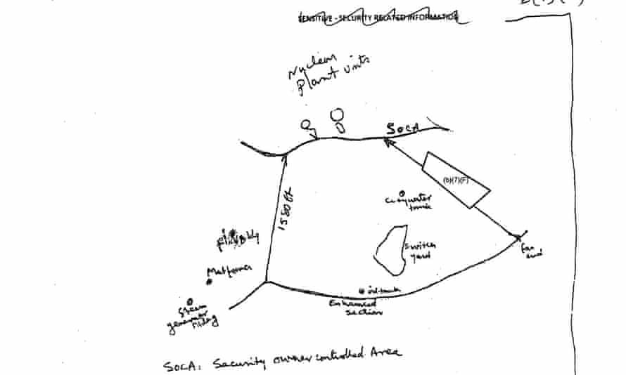 A hand-drawn diagram from the safety assessment of a 42-inch natural gas pipeline planned to run next to Indian Point nuclear power plant