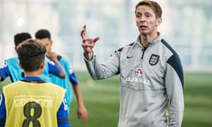 Ben Bartlett, an FA senior youth coach developer, in action at St George's Park