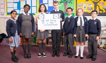 Children at Cranmer primary school in Mitcham, Surrey, campaign to find a new headteacher.