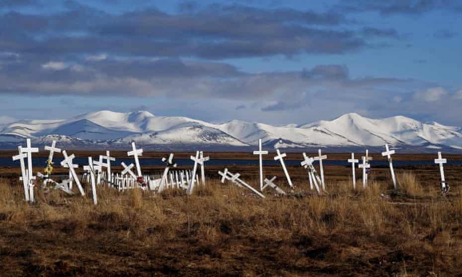 crosses topple slowly asthe permafrost thaws in quinhagak alaska