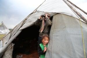 Tsaatan girl peeping from her yurt that looks like the tepee of Native Americans