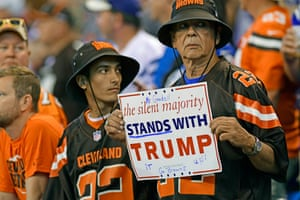 A Trump-supporting Browns fans makes his point.