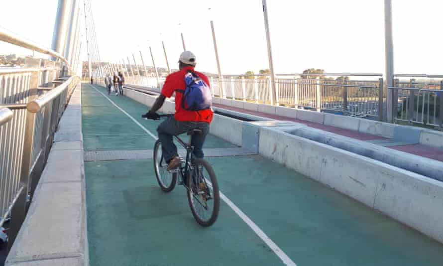 The new Grayston Pedestrian and Cycle Bridge in Johannesburg, which links Alexandra Township and Sandton over the M1 motorway