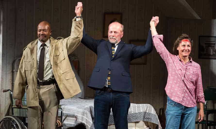 Leon Addison Brown, Bruce Willis and Laurie Metcalf on stage for the curtain call at Misery's opening night