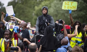 The British actor John Boyega speaks at a Black Lives Matter protest in London.