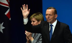 Tony Abbott acknowledges the audience at the Liberal party federal council in Melbourne on Saturday.