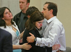 Robert, right, and Carmen Pack after Jimena Barreto was convicted in May 2005 of two counts of second-degree murder.
