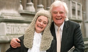 Tony Booth with his daughter, Cherie Booth, after she was sworn in as a QC in 1995.