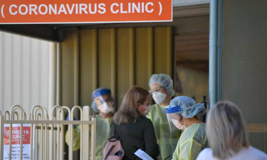 People wait outside the Tanunda War Memorial hospital in the Barossa Valley, a dedicated Covid-19 testing clinic