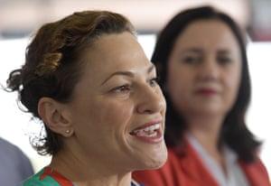 Queensland deputy premier Jackie Trad speaks to media at Robina train station on Friday, with premier Annastacia Palaszczuk.