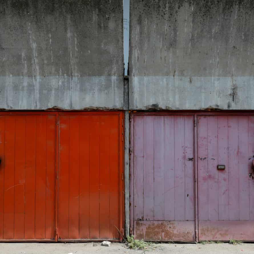 Garage doors are seen outside Block 23