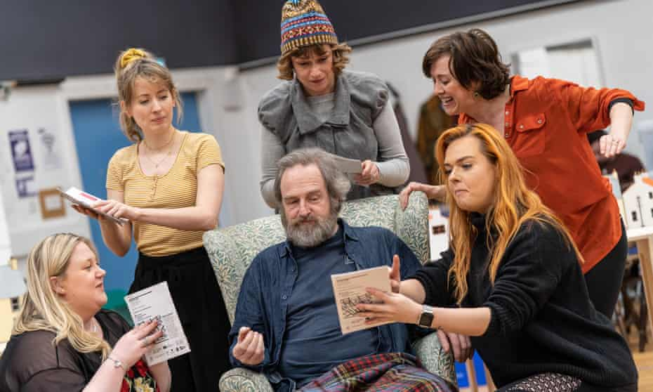 the cast of the stage version of Local Hero in rehearsal.