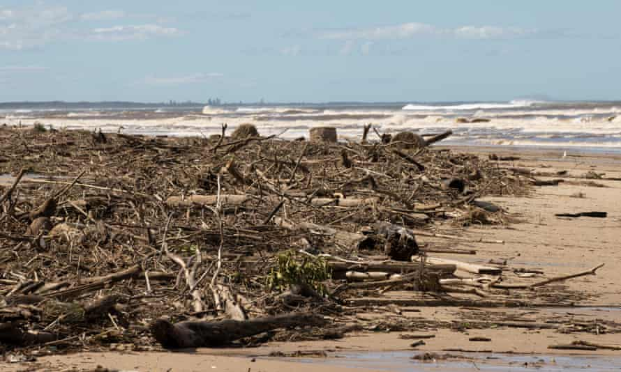 Brown surf containing silt from the recent floods, hay bales and debris carried by the Manning River and washed up at Old Bar Beach east of Taree.