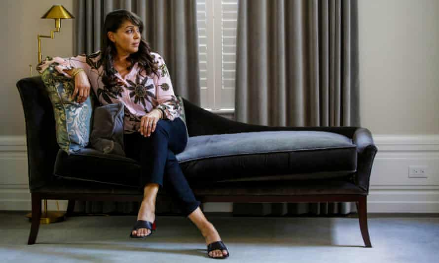 Natasha Trethewey on a chaise longue at her home in Evanston, Illinois.