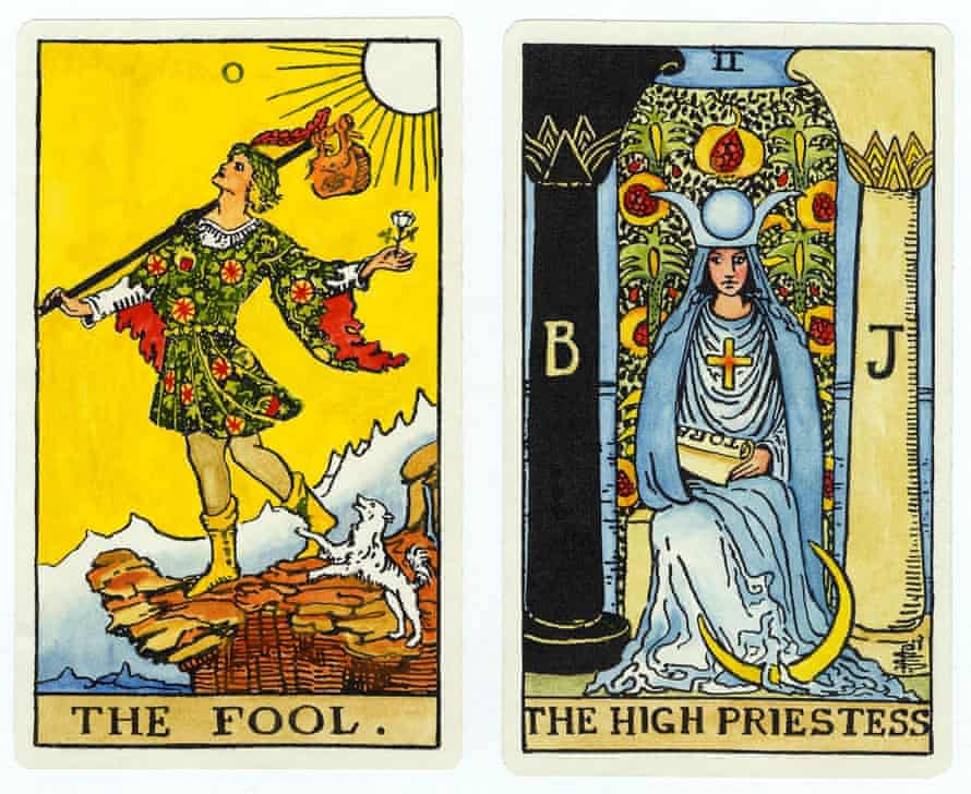 Tarot cards from the Rider-Waite deck.