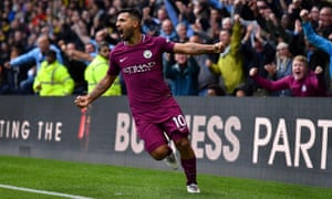 Sergio Agüero celebrates scoring his third and Manchester City's fifth goal in their rout of Watford.