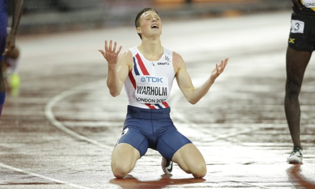Norway's Karsten Warholm reaction at the finish line after winning the men's 400 meters hurdles final won him plenty of admirers.