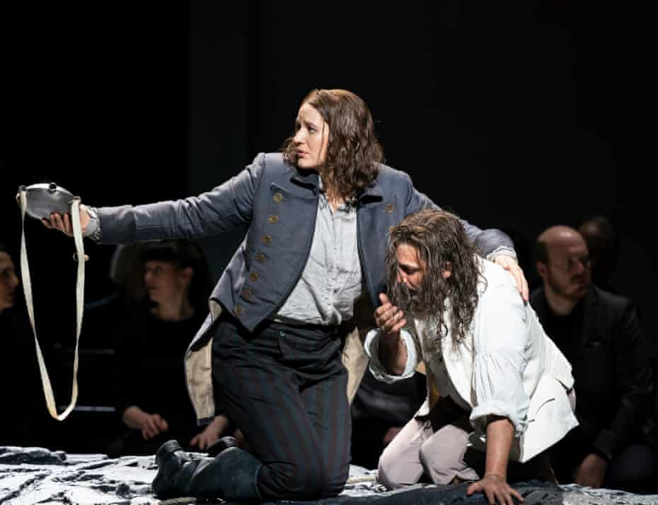 Lise Davidsen (Leonore) and Jonas Kaufmann (Florestan) in Fidelio at the Royal Opera House.