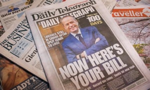 The Daily Telegraph front page on 5 July shows a mock-up cover of Labor leader Bill Shorten 100 days into his supposed term as Australian prime minister in 2019.