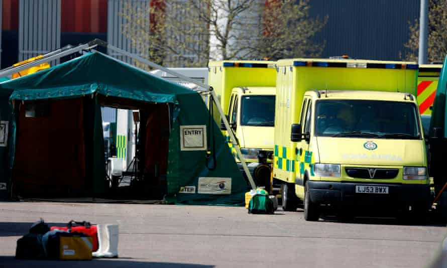Ambulances outside the NHS Nightingale hospital at the ExCeL centre in London.