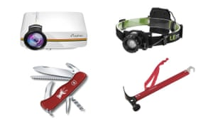 Camping projector, head torch, hammer and Swiss army knife