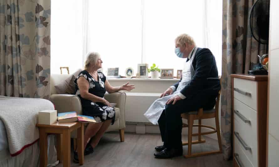 Boris Johnson at Westport Care Home in Stepney Green, east London, 7 September 2021.