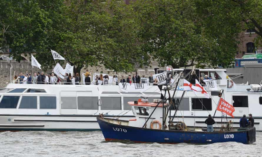 Remain and leave campaigners in rival boats.