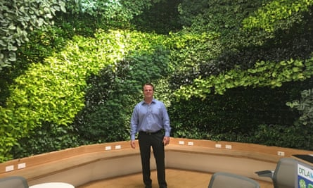 Mike Swords, at the LA Cleantech Incubator's 'living wall'.