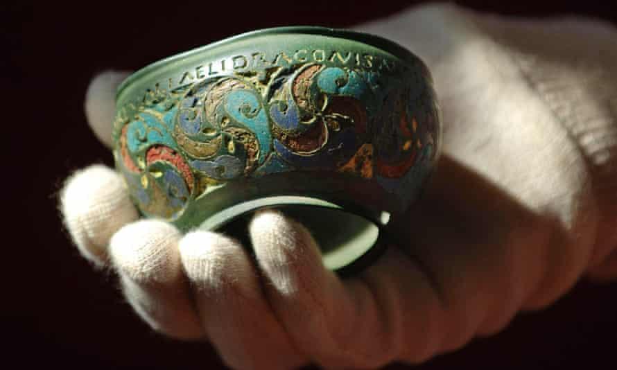 Roman enamelled bronze vessel, 2nd century AD