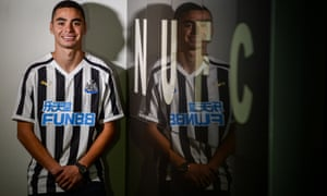 Newcastle United signing Miguel Almirón in the dressing room at St James' Park.