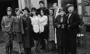The 'Allo 'Allo! cast on location in Mundford, Norfolk in 1986.