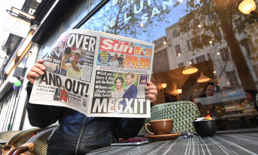 A man reading the Sun newspaper, 9 January 2020