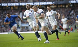 Mike Brown goes over for the first try during England's win over Samoa at Twickenham.