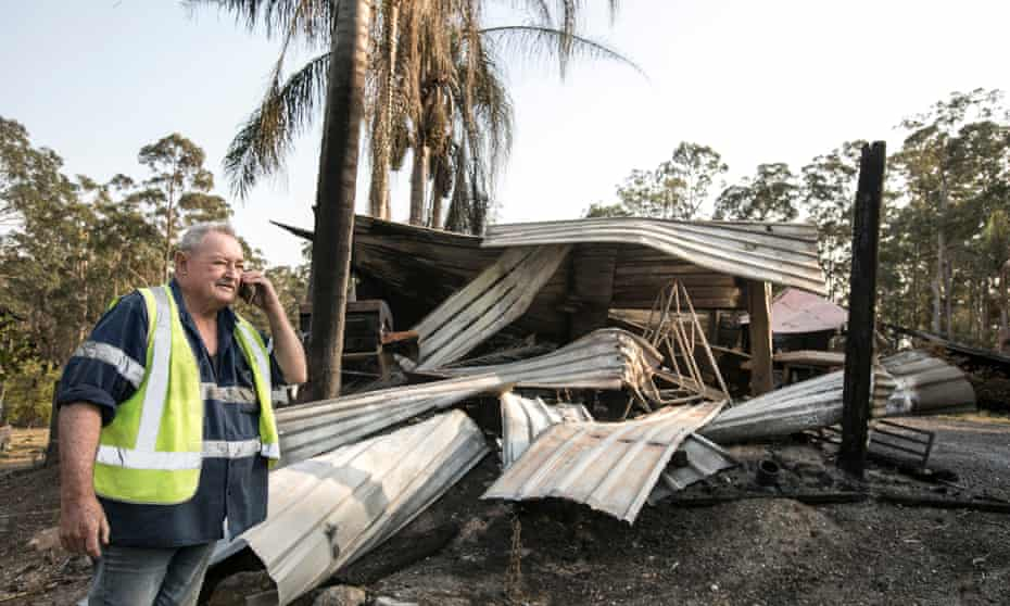 Col Meredith on his neighbour's property in Rainbow Flat. The house was destroyed.