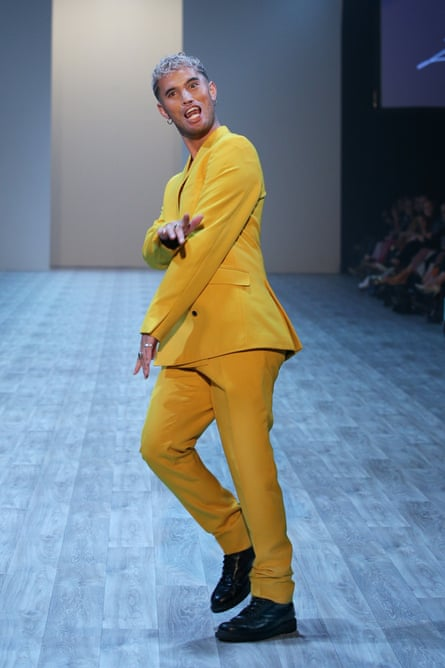 Stan Walker showcases designs on the runway during the Zambesi: 40 Years of Fashion show during New Zealand Fashion Weekend 2019.