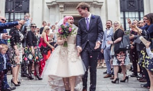 Victoria and Jonathan O'Brien, who met on Twitter, on their wedding day.