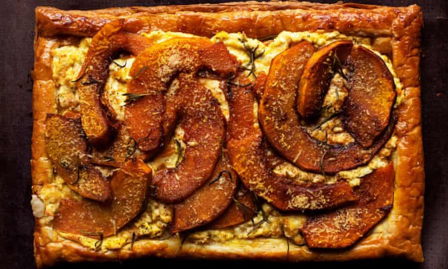 Pumpkin, ricotta and rosemary tart.