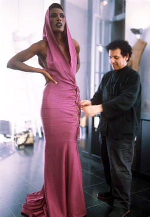 Grace Jones and Azzedine Alaïa in 1985.